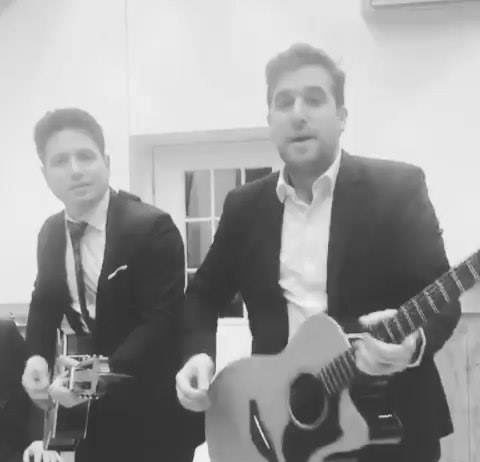 @Aaroneinhornmusic at his own lchaim engagement to Sarah Leah Elancry , rocking out after hours with good friend @elilevinmusic and freestyling lyrics off the top.