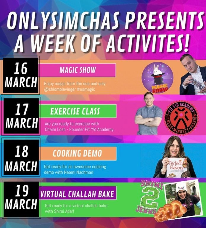 Still going strong! 💪🏻 Last night we had @shlomolevinger & a surprise @simchaleiner concert! 🎤 Are you ready for @naominachman & A virtual Challah Bake with @shimiadar 🤩 #onlysimchas #oscorona #nothingwillstopus💪🏻