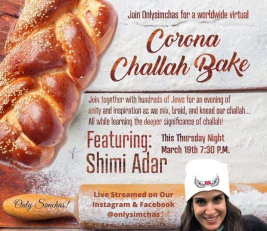 Join us for a virtual challah bake with @shimiadar Live on @Onlysimchas Instagram and facebook! 🍞 Make sure to come with your dough prepared to braid! #onlysimchas #virtualchallahbake #oscorna