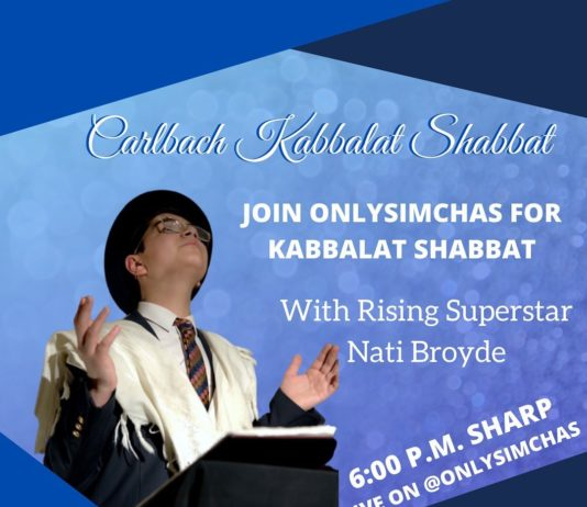 Join Onlysimchas for a Virtual Carlbach Kabbalat Shabbat with rising superstar Nati Broyde! 🎼 This Friday at 6:00 PM EST #onlysimchas