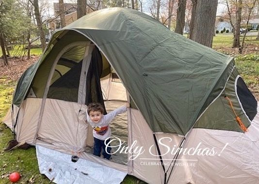 This child and his father took a Chol Hamoed trip to their backyard and slept in a tent! ⛺️Send us your Fun! #onlysimchas