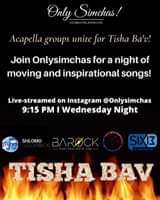 Join Onlysimchas for a night of moving and inspirational songs! 🙌🏻 Live-streamed on @onlysimchas Instagram at 9:15 PM tommorow night! 🔥 #onlysimchas #tishabav BaRock OrchestraY-Studs A Cappella Shlomo Golombeck OrchestraSix13